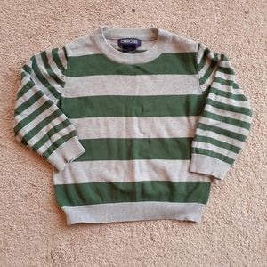 {Cherokee} Gray Green Stripe Pullover Sweater 3T